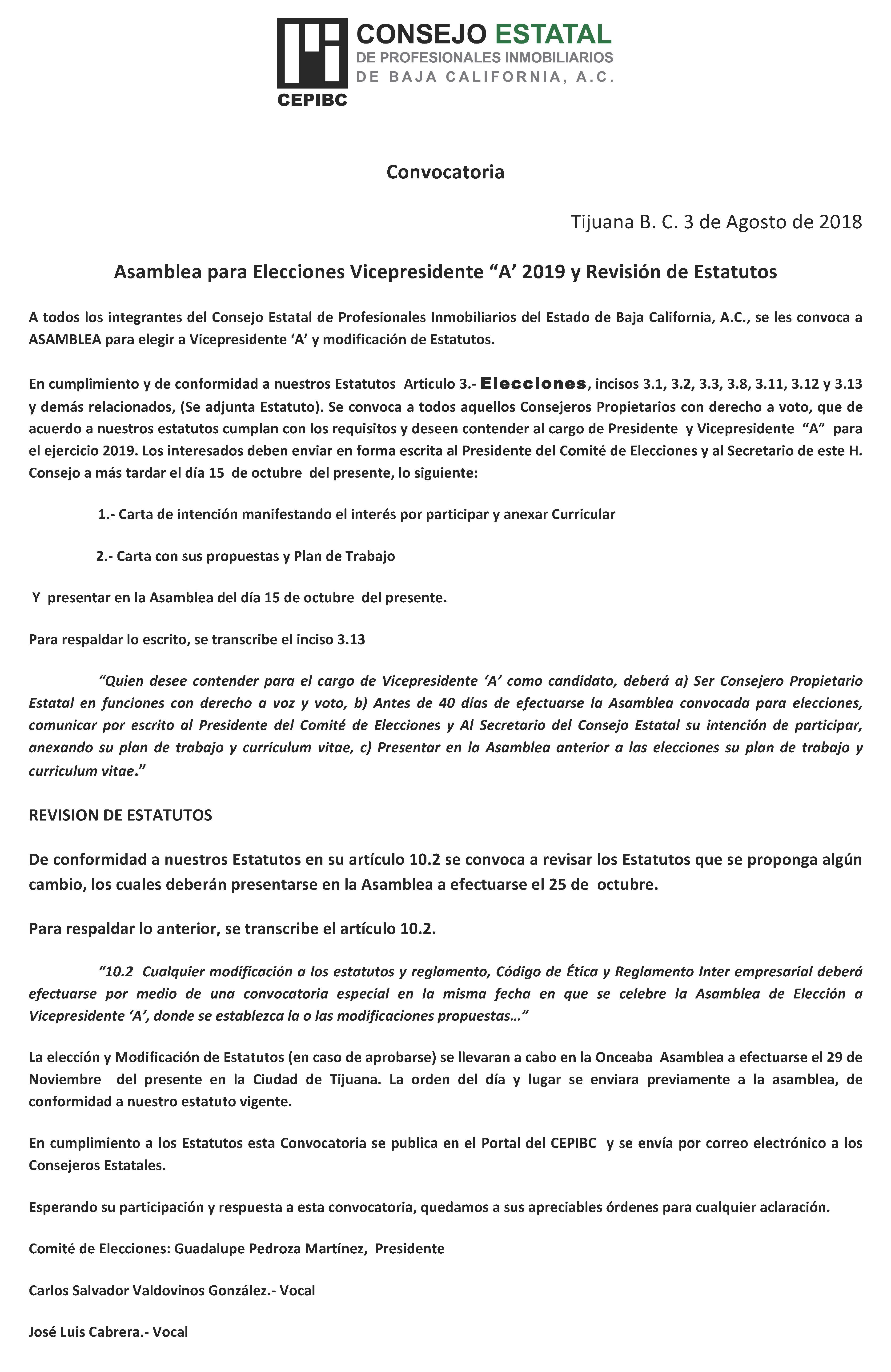 Convocatoria Elecciones CEPIBC 2019